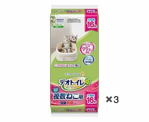 送料込み☆デオトイレ 複数ねこ用消臭抗菌シート 16枚入り×3袋