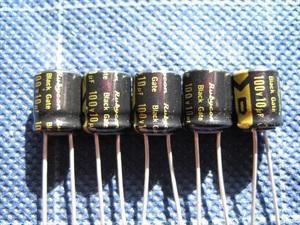 ルビコン 電解コンデンサー ブラックゲート 100V 10μF 5個 未使用