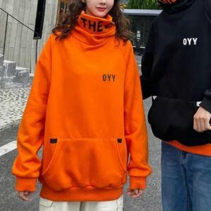 パーカー ハイネック フード トップス ビッグシルエット 長袖 オレンジ レディース メンズ オーバーサイズ 原宿系 韓国系 XL