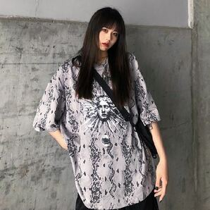 Tシャツ ビッグシルエット 半袖 総柄 トップス 太陽 グレー ティーシャツ シャツ カットソー プリント 灰色 チュニック 原宿系 韓国系 XL