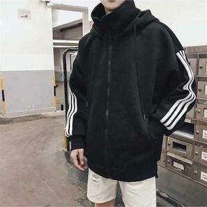 パーカー ビッグシルエット 3ライン アウター 韓国 ストリート フード メンズ レディース 長袖 オーバーサイズ ブラック 黒色 XL XXL