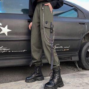 ジョガーパンツ テーパードパンツ チェーン ストリート カーゴパンツ ワークパンツ テーパードパンツ メンズ レディース カーキ M L XL