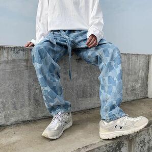 デニム ワイドレッグ ストレートパンツ ジーンズ パッチワーク ワイドパンツ ブルー 青 インディゴ メンズ レディース ボトムス M