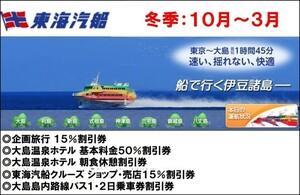 【最新:2021/10-】 東海汽船 株主優待 株主サービス券 大島関連 6枚セット