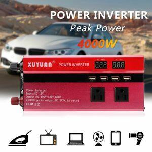 インバーター 車の電源 LCDディスプレイ トランス コンバータ 連続出力4000W 瞬間最大8000W 入力DC12V 出力AC110V DJ840