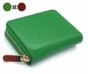 ミニ財布 コインケース カードケース 小銭入れ メンズ レディース 緑 茶