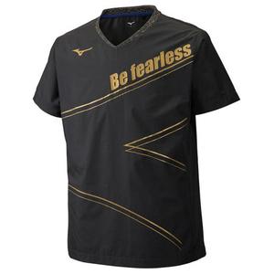 ミズノ mizuno バレーボールウェア 半袖 ピステ ウォームアップウェア ブレーカーシャツ ブラック×ゴールド XLサイズ 23854