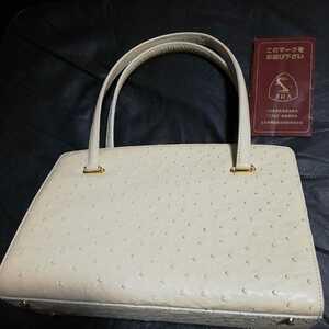 美品 オーストリッチ がま口 和装着物 皮革ハンドバッグ 白ホワイト JRA
