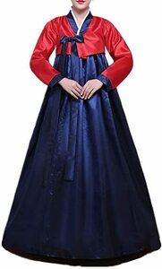 レッド+ブルー S 女性 韓国民族衣装 韓服 コスプレ 化?舞会派?装扮 (S, レッド+ブルー)