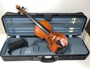 バイオリン◆メーカー・モデル不明<セミハードケース付き>◇金属ミュート ショルダーレスト □