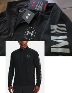 アンダーアーマー★ UNDER ARMOUR@完売胸元&背中&袖【星条旗】ロゴ入長袖【Freedom Tech 2.0 1/2 Zip Long Sleeve Shirt】黒@L