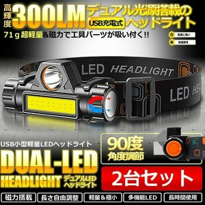 LEDヘッドライト ヘッドランプ 2台セット USB充電式 90度回転 キャンプ 登山 夜間作業 夜釣り 遠近両用ヘッドライト