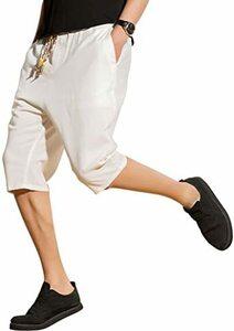 ホワイト M ハーフパンツ メンズ 大きいサイズ サルエルパンツ 大きめ ズボン 七分丈 ショートパパンツ 夏 無地 調整紐 ゆ