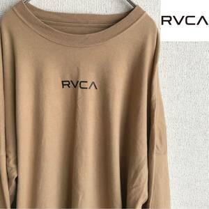 RVCA 袖プリント 長袖 Tシャツ ルーカ Mサイズ ベージュ ロンT