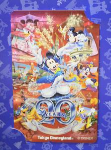 未使用 テレホンカード ディズニー 20th ANNIVERSARY 東京ディズニーランド ミッキーマウス テレカ テレフォンカード *定形外発送の商品画像