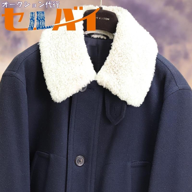 本物 エルメス 絶盤 メンズランウェイ限定 シアリングムートン毛皮襟4ポケットコート メンズ50 ジャケット ブルゾン 国内正規品 HERMES