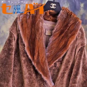 本物 極上品 ルイヴィトン 最高級ミンクファー毛皮襟ダブルフェイスムートンコート サイズ38 ジャケット 国内正規品 収納バッグ付