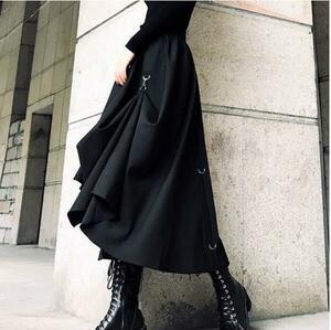 秋新作上質デザイナーズコレクション 変形スカート アシンメトリー ゴシック 個性的 ブラック ウエストゴム V系 スチームパンク ライブ衣