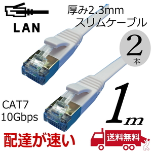 【2本セット】1m スリムフラットLANケーブル Cat7 高速転送10Gbps RJ45コネクタ ツメ折れ防止 ノイズ対策シールドケーブル 7SM01x2□■