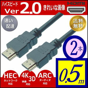 ☆ [2本] 50cm HDMIケーブル ハイスピードVer2.0 3D ネットワーク 4KフルHD対応 Aタイプ(オス/オス) 2HDMI-05x2【送料無料】