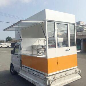 キッチンカー積載タイプ 移動販売 フードカー ケイタリング、可愛いボックス シンク オーニングテント 換気扇付き 自由DIY