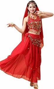 レッド Eiza ベリーダンス 衣装 4点 インドダンス アラビアン 女王 アラジン コスプレ 民族衣装 イベント e713 (
