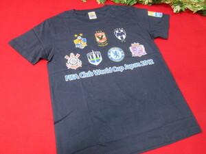 (6Y6835)サッカー Tシャツ Lサイズ ネイビー系 綿100% FIFAクラブワールドカップ ワールドカップ 日本 2012年 シャツ ウェア