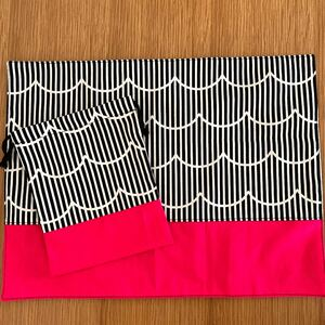 波柄 マゼンダピンク  ランチマット ランチョンマット ハンドメイド 給食セット 給食袋 巾着 コップ袋