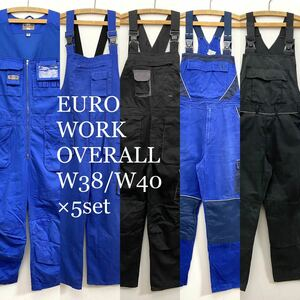 ユーロワークタクティカルオーバーオール 5着set メンズXL W38/W40 ユーロ古着 検品済み SRC古着卸 セット まとめ売り オロシ