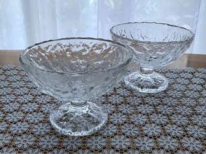フルーツ皿 パフェグラス プリン皿 アイスクリーム器 喫茶店 昭和レトロ 脚付き 2個セット