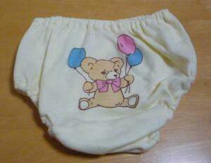80 女児パンティ インゴム ショーツ ちびぱん イエロー バックプリント 綿35% 西松屋