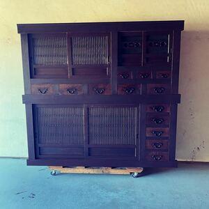 GM10kdイ 6尺近江水屋箪笥 上りつき食器棚  古民家に 階段箪笥 水屋箪笥