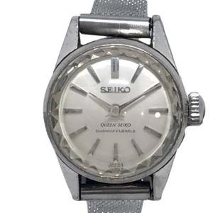 21-3076 セイコー 1020-0010T クイーン 腕時計 手巻き 機械式 銀文字盤 シルバーベルト 2針 アンティーク ウォッチ レディース 女性用