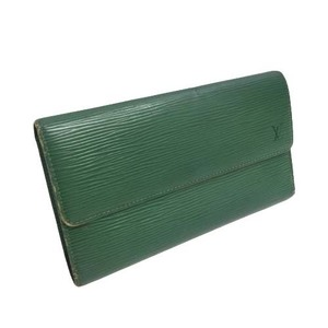 21-3296 ルイヴィトン M63384 ポルトトレゾールインターナショナル 二つ折り財布 エピ グリーン 緑 レディース メンズ ユニセックス