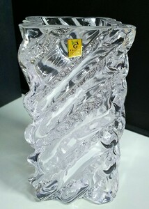 b88*1 jpy start ** consumer electronics * hobby *KAGAMI CRISTAL crystal vase F297 four angle secondhand goods #10Z2825