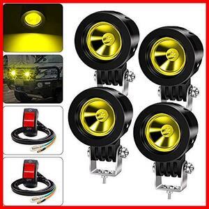 ★スタイル:10W(狭角X4-黄)+スイッチ★ X-STYLE バイク フォグランプ 黄色 ヘッドライト 補助灯 led作業灯 ワークライト プロジェクター
