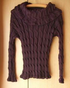 レディース古着A908■Mサイズ?■ボルドー系紫色長袖縄編み柄タートルネックセーター