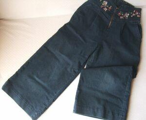 レディース古着A911■Mサイズ■紺色系ワイドパンツ刺繍入りジーンズハイウエスト