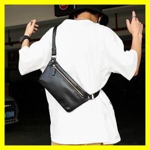 ボディ バッグ 収納 軽量 シンプル ショルダー サコッシュ 黒 革 メンズ