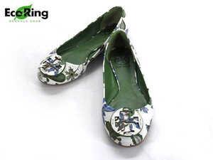 1円 トリーバーチ フラワー柄 バレエ フラットシューズ 靴 6 BV585