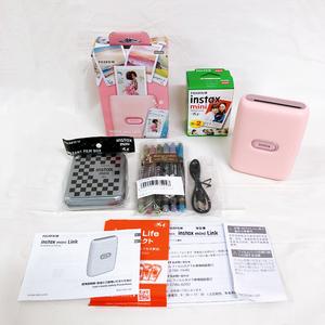 286*FUJIFILM スマートフォンプリンター instax mini Link ピンク フィルム2パック デコルーレペン6色 フィルムボックス付き 未使用品
