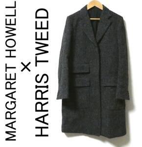 MARGARET HOWELL×HARRIS TWEED マーガレットハウエル ハリスツイード 比翼 チェスターコート 1 Ⅰ 黒×白 ブラック ホワイト