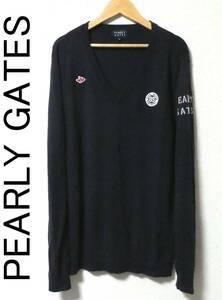 正規品 PEARLY GATES パーリーゲイツ ロゴワッペン Vネック ウール ニット セーター 6 紺 ネイビー