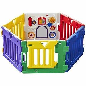 新品カラフル 日本育児 ベビーサークル ミュージカルキッズランド DX 6ヶ月~3歳半対象 おもちゃパネル付のベビー1MGB