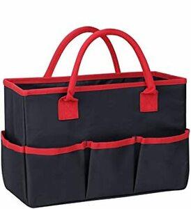 ブラック 34.5*22*14.5cm ツールバッグ 工具バッグ 大容量 工具差し入れ 布製 工具用道具袋 手提げ 工具 収納