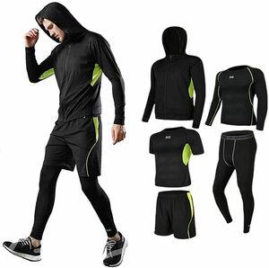 コンプレッションウェア セット メンズ トレーニングウェア 5点セット 通気防臭 パーカー 長袖シャツ 半袖シャツ ハーフパンツ タイツ