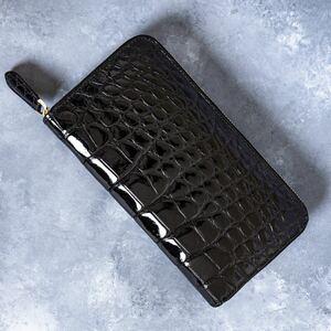 クロコダイル 長財布 一枚革 シャイニング 加工 ワニ革 ターコイズブルー 本革 ラウンドファスナー ラウンドファスナー ブラック
