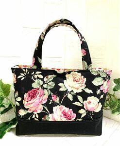 ハンドメイド 玉付ファスナー内ポケットミニトートバッグ☆ローラアシュレイ風薔薇柄と小さな花柄