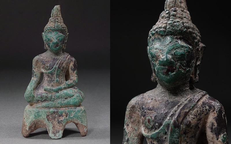 ?花?タイ?チベット仏教美術 釈迦如来坐像 青銅仏 仏像 スコータイ ◇22