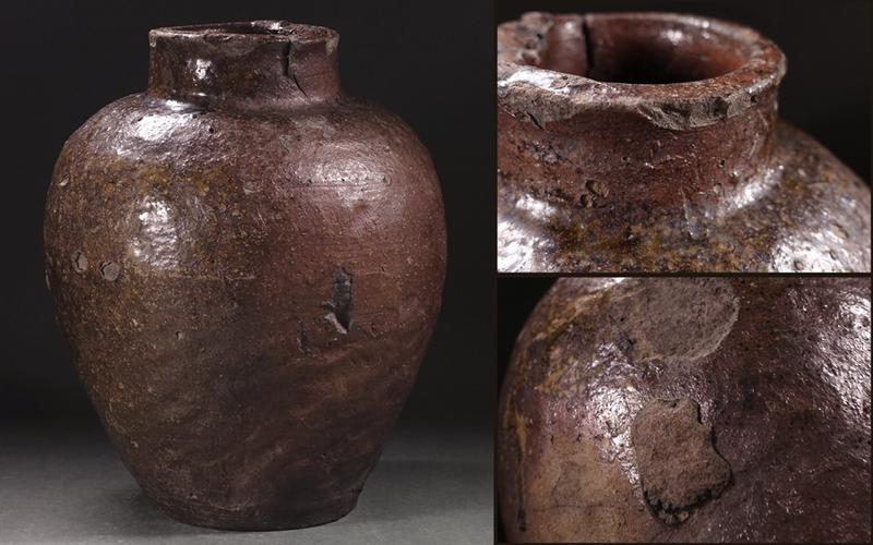 ?花?江戸時代前期頃 古常滑自然釉壷 葉茶壷 高さ28cmの野趣ある姿 ◇9